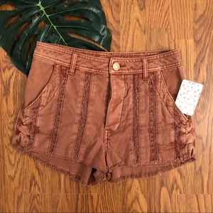 Free People Great Expectations Lace Cutout Shorts